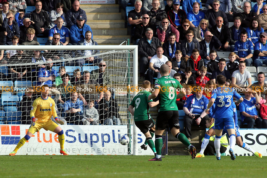 Paddy Madden scores Scunthorpe's opening goal during Gillingham vs Scunthorpe United, Sky Bet EFL League 1 Football at the MEMS Priestfield Stadium on 11th March 2017