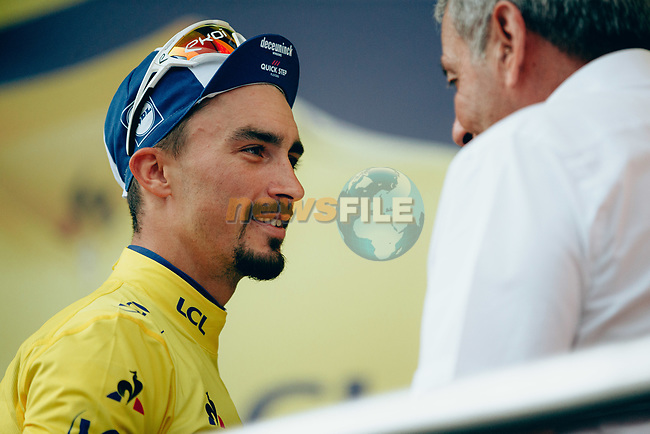 Race leader Julian Alaphilippe (FRA) Deceuninck-Quick Step retains the Yellow Jersey finishing in 14th place at the end of Stage 18 of the 2019 Tour de France running 208km from Embrun to Valloire, France. 25th July 2019.<br /> Picture: ASO/Thomas Maheux | Cyclefile<br /> All photos usage must carry mandatory copyright credit (© Cyclefile | ASO/Thomas Maheux)