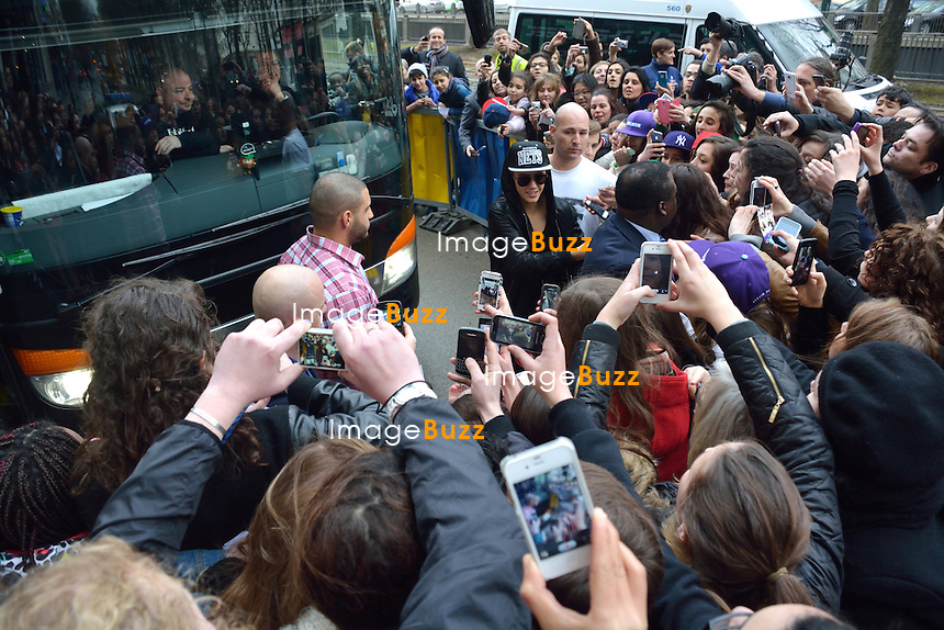 "EXCLUSIVE PHOTOS - Justin Bieber touring in Belgium - Justin Bieber arrived from France in Belgium-Brussels,  on April 9th at 4 am with his black/grey touring bus ""  Beat the street ""..He checked into the  "" Steigenberger ""  hotel in Brussels. A few hours later, his fans were surrounding the front and back entrance of his hotel, that the security of the hotel could not handle such a craziness and had to get some big help from the brussels police. About 40 police officers arrived to surround the hotel to protect the star who had two concerts in the city of Antwerp. But Justin asked the police to leave, which they did after a while!! Justin kept hiding in the hotel between the fitness center kept opened only for him, as well the swimming pool where he did some water polo with his musicians. The bar of the hotel even got closed to the guests of the hotel around 6pm, to let justin enjoying the bar. On the first day of his concert, Justin escaped his fans by jumping from his Mercedes van into his tour bus, hided by his bodyguards. Justin's musicians even played the piano at the piano bar  of the hotel, singing Elton John's songs! It's only on his 3rd and last day in Brussels  ( April11th ) that Justin Bieber finally agreed to meet with his fans on the street. Brussels, April 10th & 11th, 2013."