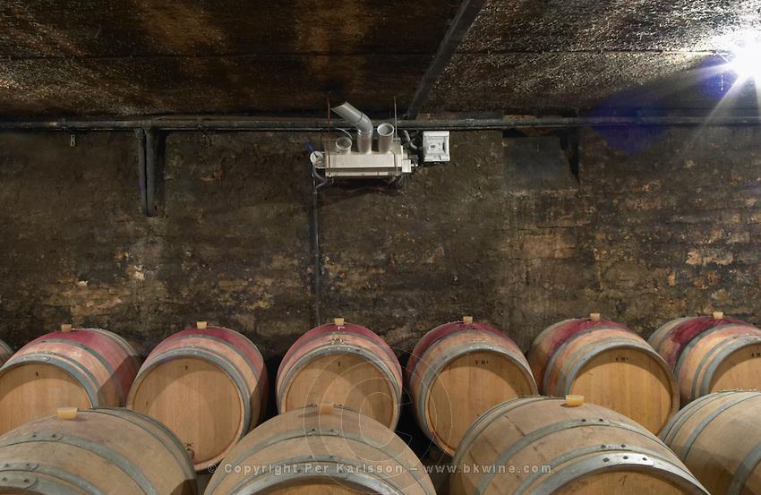 barrel cellar with a humidifier domaine maillard chorey-les-beaune cote de beaune burgundy france