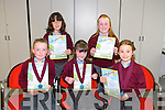 Knockanes National School, Killarney,  Lucy Guerin, Aoibheann Gleeson, Sarah Moran, Alison O'Sullivan and Sinead Gleeson award winners at the Scriobh Leabhar Presentation evening in the Eduction Centre Dromthacker Tralee