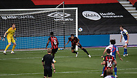 Bournemouth's Lloyd Kelly (centre) headers the ball saving Bournemouth from conceding a goal<br /> <br /> Photographer David Horton/CameraSport <br /> <br /> The EFL Sky Bet Championship - Bournemouth v Blackburn Rovers - Saturday September 12th 2020 - Vitality Stadium - Bournemouth<br /> <br /> World Copyright © 2020 CameraSport. All rights reserved. 43 Linden Ave. Countesthorpe. Leicester. England. LE8 5PG - Tel: +44 (0) 116 277 4147 - admin@camerasport.com - www.camerasport.com