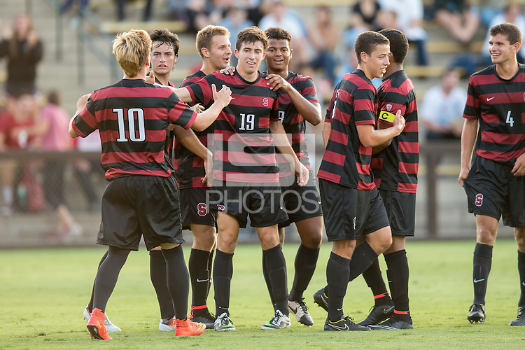 STANFORD, CA - August 19, 2014: Stanford forward Bobby Edwards (19) and teammates celebrating Edwards' goal during the Stanford vs CSU Bakersfield men's soccer match in Stanford, California. Final score, Stanford 1, CSU Bakersfield 0.
