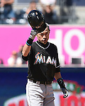 Ichiro Suzuki (Marlins), JUNE 15, 2016 - MLB : Ichiro Suzuki of Miami Marlins reacts on the second base in the ninth inning during the Major League Baseball game between the San Diego Padres and the Miami Marlins  at PetCo Park in San Diego, California, United States. He raised his career total in the Japanese and North American major leagues to 4,257, passing Pete Rose's record Major League Baseball total. (Photo by AFLO)