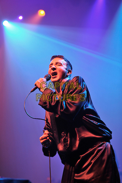 Marc Almond .performs 'Marc and the Mambas' Torment and Toreros, as part of the Meltdown Festival, Royal Festival Hall, Waterloo, London, England. .9th August 2012.on stage in concert live gig performance performing music half length singing black robe.CAP/MAR.© Martin Harris/Capital Pictures.