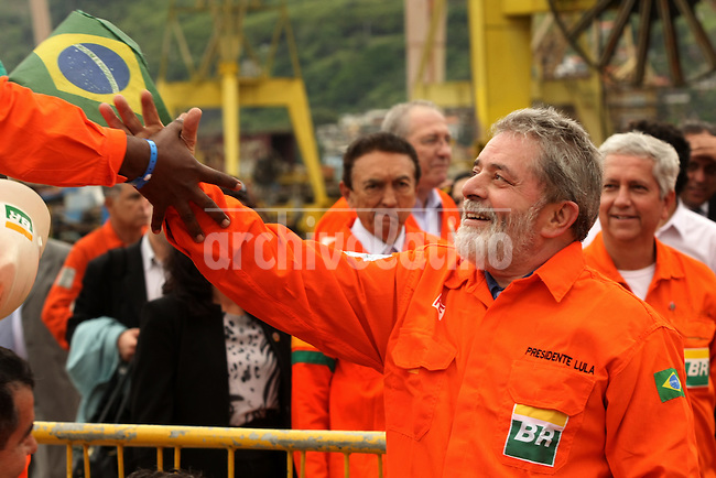 Brazilian President Luis Ignacio Lula da Silva  with workers at the inauguration of the Petrobras P51 platform near Angra dos Reis, Brazil, Oct. 8, 2008. The P51 is the first semi-submersible platform, touted as the world's largest, made entirely in Brazil.