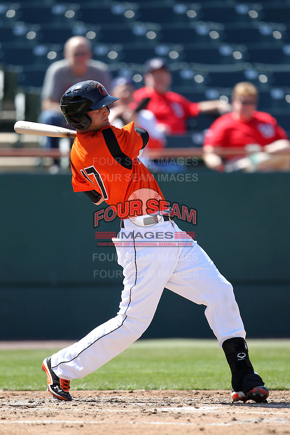 Bowie BaySox catcher Caleb Joseph #17 during a game against the Harrisburg Senators at Prince George's Stadium on April 8, 2012 in Bowie, Maryland.  Harrisburg defeated Bowie 5-2.  (Mike Janes/Four Seam Images)