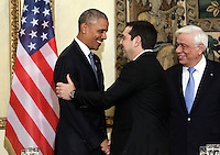 Pictured L-R: US President Barack Obama, Greek Prime Minister Alexis Tsipras and Greek President Prokopis Pavlopoulos. Tuesday 15 November 2016<br /> Re: US President Barack Obama attends official stat banquet at the Presidential Mansion during his visit to Athens Greece