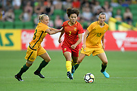 22 November 2017, Melbourne - WANG SHUANG (7) of China PR runs with the ball during an international friendly match between the Australian Matildas and China PR at AAMI Stadium in Melbourne, Australia.. Australia won 5-1. Photo Sydney Low