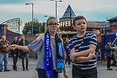 28th September 2017, Goodison Park, Liverpool, England; UEFA Europa League group stage, Everton versus Apollon Limassol; Two young Everton fans dance to the live act