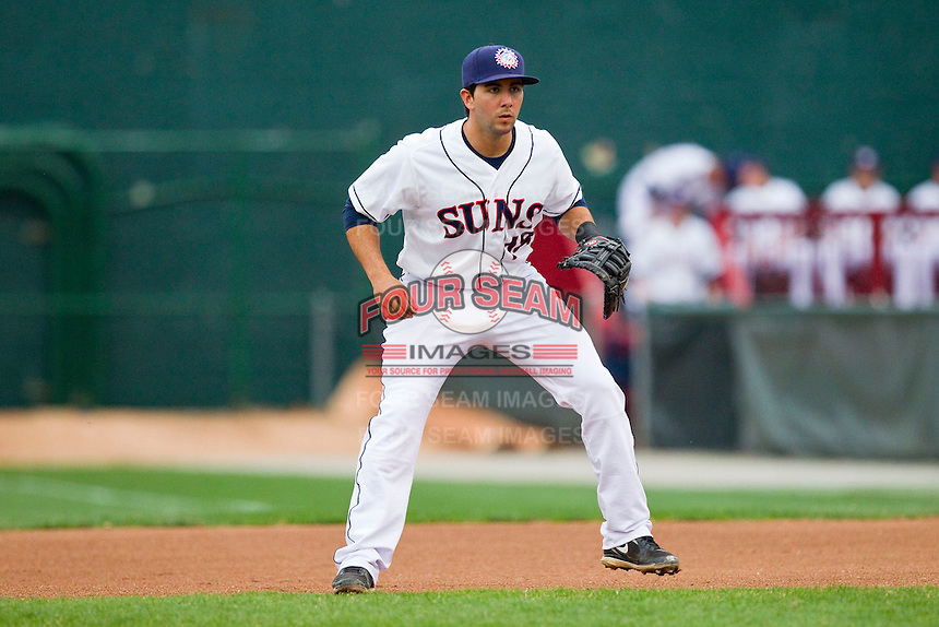 Hagerstown Suns first baseman Carlos Lopez (18) on defense against the Delmarva Shorebirds at Municipal Stadium on April 11, 2013 in Hagerstown, Maryland.  The Shorebirds defeated the Suns 7-4.  (Brian Westerholt/Four Seam Images)