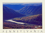 "Poster of the West Branch of the Susquehanna River, Clinton County, Pennsylvania. White border with ""Pennsylvania"" written at bottom with space for framing."