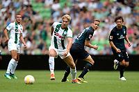 GRONINGEN - Voetbal, FC Groningen - Werder Bremen, voorbereiding seizoen 2018-2019, 29-07-2018, FC Groningen speler Tom van Weert met Niklas Moisander