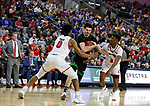 SIOUX FALLS, SD - MARCH 8: Kienan Walter #23 of the North Dakota Fighting Hawks drives the ball to the basket against Stanley Umude #0 of the South Dakota Coyotes at the 2020 Summit League Basketball Championship in Sioux Falls, SD. (Photo by Richard Carlson/Inertia)