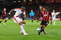 Nathan Ake of AFC Bournemouth right blocks a shot from Jordan Ayew of Crystal Palace during AFC Bournemouth vs Crystal Palace, Premier League Football at the Vitality Stadium on 1st October 2018