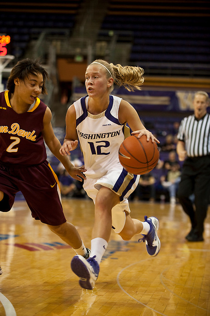 The Washington Huskies Women's Basketball team defeated the Arizona State Sun Devils 62-56 at Hec Ed Pavilion, Seattle, WA on January 7, 2010.