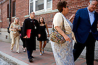 Dr. David Myers (from right), Lillian Culbertson (grandmother), Ashley Lyles (sister), Nick Culbertson, Leticia Culbertson (obscured, mother), and Sue Myers, walk to the subway after attending the graduation of Nick Culbertson, of Dunellen, New Jersey, at the Quincy House ceremony during Harvard University Commencement on May 26, 2011, in Cambridge, Massachusetts, USA.<br /> <br /> Photo: M. Scott Brauer for the Star-Ledger
