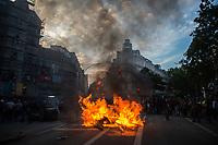 Hamburgo, Alemania 2017-07-07. Imagenes generales de manifestantes que protestan en contra de la reunion del G20 que reune a los dirigentes de los 20 paises mas influyentes del mundo, en esta edicion, la reunion se realizo en la ciudad Alemana de Hamburgo, bajo un intenso resguardo policiaco. Foto/Gerardo Flores.