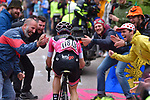 Race leader Maglia Rosa Simon Yates (GBR) Mitchelton-Scott attacks near the finish of Stage 14 of the 2018 Giro d'Italia, running 186km from San Vito al Tagliamento to Monte Zoncolan features Europe's hardest climb, Italy. 19th May 2018.<br /> Picture: LaPresse/POOL-Getty-TDW | Cyclefile<br /> <br /> <br /> All photos usage must carry mandatory copyright credit (&copy; Cyclefile | LaPresse/POOL-Getty-TDW)