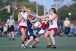 Santa Barbara, CA 02/18/12 - Danielle DeWaal (BYU #28), Sandra Syntax (Arizona State #16) and Katie Stemm (Arizona State #3) in action during the Arizona State vs BYU matchup at the 2012 Santa Barbara Shootout.  BYU defeated Arizona State 10-8.