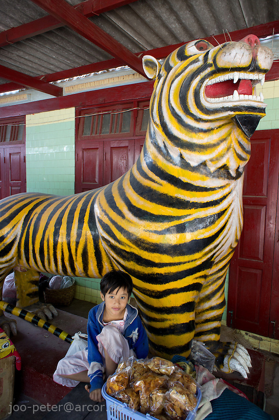 sculpture of a tiger as guarding spirit at the entrance of Nat temple in Mount Popa village, Myanmar, 2011