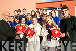 DEFIBRILATORS; Receiving defibrilators for the community from the Ryan Family on Friday were front, l-r: Cormac Bonner, Presentation Secondary School Milltown, Fiona Barton (Acute Medical Training), Laura Ryan, Miriam Ryan, Kerrie-Anne Ryan, Brendan Griffin (Keel) with Milltown school students.   Copyright Kerry's Eye 2008