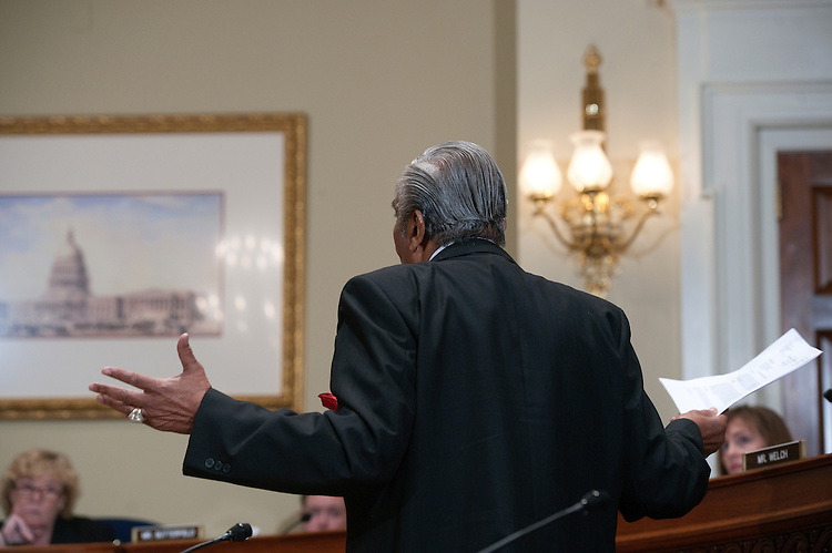 UNITED STATES - NOV 15: Rep. Charles Rangel, D-N.Y., addresses the House Standards of Official Conduct (Ethics) Committee Adjudicatory Subcommittee hearing to determine whether any alleged ethics violations committed by him can be proven by clear and convincing evidence. Rep. Charles Rangel, D-NY., faces 13 allegations that his fund-raising and personal finances violated Congressional rules. (Photo By Douglas Graham/Roll Call)