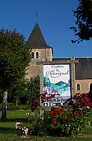 The church. Poster for crottin de chavignol goat cheese. Montigny village, Sancerre, Loire, France