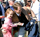 Sunshine Numbers' trainer Arch Kingsley celebrates Carolina Cup win with daughter, Taylor.