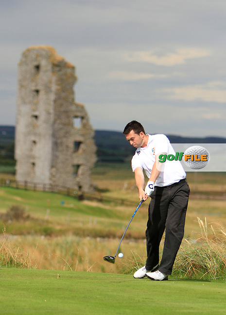 Gavin O'Connor (Malahide) on the 13th tee during the South of Ireland Amateur Open Championship Second Round at Lahinch Golf Club  28th July 2013 <br /> Picture:  Thos Caffrey / www.golffile.ie
