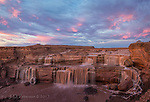Grand Falls at Dusk, Little Colorado River, Arizona ©2017 James D Peterson.  The Little Colorado River drains a large stretch of northeastern Arizona, but it is nonetheless dry for much of the year.  Catching Grand Falls, northeast of Flagstaff, at its best thus requires a bit of timing.  This panoramic image was made about 15 minutes after sunset when the spring thaw in the high country was supplying the flow.