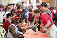 STANFORD, CA- April 13, 2013- The Stanford Cardinal and Whites Spring Game. Fans get autographs during the Cardinal and White spring game. <br /> <br /> isiphotos.com