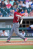 J.P. Crawford (3) of the Lehigh Valley Iron Pigs follows through on his swing against the Charlotte Knights at BB&T BallPark on June 3, 2016 in Charlotte, North Carolina.  The Iron Pigs defeated the Knights 6-4.  (Brian Westerholt/Four Seam Images)