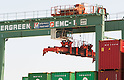 May 23, Tokyo, Japan - A worker operates a machine to organize cargo containers at a port in Tokyo. According to the Ministry of Finance Japan report, the country acquired a trade balance of 520.27 billion yen in April, compared with 470.8 billion yen in the previous year. Exports increased 7.9 percent from a year earlier which was below the expected 11.8 increase economists had hoped for. Imports, on the other hand, saw a 8.0 percent increase to 6.087 trillion yen. (Photo by: Christopher Jue/AFLO)