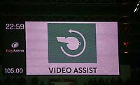06.02.2018, Bay - Arena, Leverkusen, GER, DFB-Pokal, Bayer 04 Leverkusen vs Werder Bremen<br /> , <br />Anzeigetafel and Text: Video Assist, Videoassistent,  *** Local Caption *** © pixathlon<br /> Contact: +49-40-22 63 02 60 , info@pixathlon.de