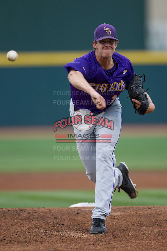 LSU Tigers starting pitcher Aaron Nola (10) delivers a pitch against the Texas A&M Aggies in the NCAA Southeastern Conference baseball game on May 10, 2013 at Blue Bell Park in College Station, Texas. LSU defeated Texas A&M 7-4. (Andrew Woolley/Four Seam Images).