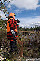 Woman hunting moose