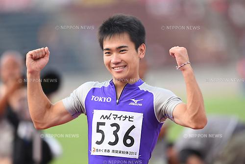 Kenta Oshima (Tokyo), <br /> JULY 31, 2014 - Athletics : <br /> 2014 All-Japan Inter High School Championships, <br /> Men's 100m Final <br /> at Kofu, Yamanashi, Japan. <br /> (Photo by YUTAKA/AFLO SPORT)