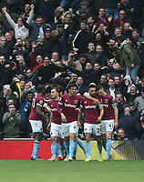 West Ham United celebrate after Michail Antonio had scored their first goal<br /> <br /> Photographer Rob Newell/CameraSport<br /> <br /> The Premier League - Tottenham Hotspur v West Ham United - Saturday 27th April 2019 - White Hart Lane - London<br /> <br /> World Copyright © 2019 CameraSport. All rights reserved. 43 Linden Ave. Countesthorpe. Leicester. England. LE8 5PG - Tel: +44 (0) 116 277 4147 - admin@camerasport.com - www.camerasport.com