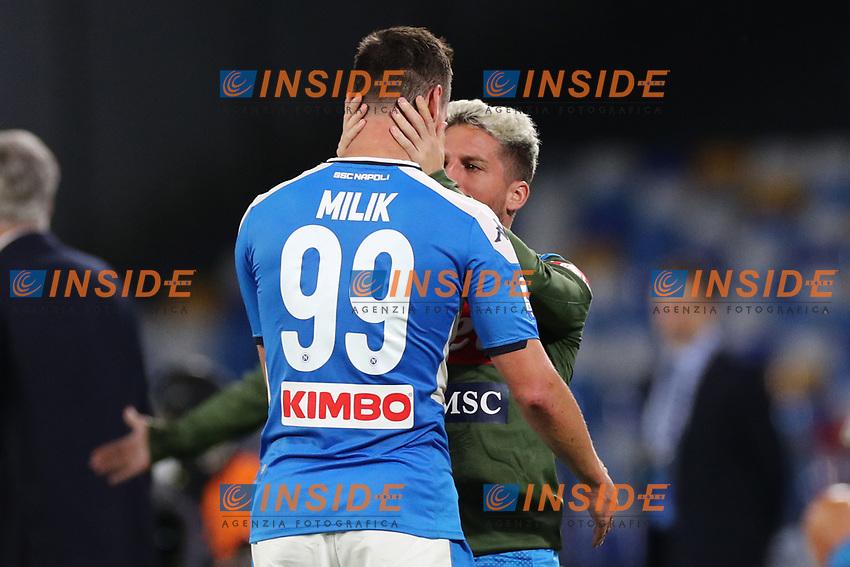 Arkadiusz Milik of Napoli celebrates with team mate after scoring a goal <br /> Napoli 19-10-2019 Stadio San Paolo <br /> Football Serie A 2019/2020 <br /> SSC Napoli - Hellas Verona FC<br /> Photo Cesare Purini / Insidefoto