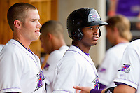 Juan Silverio #18 of the Winston-Salem Dash in the dugout after scoring a run against the Myrtle Beach Pelicans at BB&T Ballpark on July 5, 2012 in Winston-Salem, North Carolina.  The Dash defeated the Pelicans 12-5.  (Brian Westerholt/Four Seam Images)