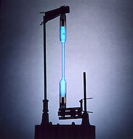 EMISSION OF LIGHT FROM GAS IN A DISCHARGE TUBE<br /> Mercury Is Bright Blue<br /> Different gases emit light of different characteristic colors upon excitation in an electrical discharge.