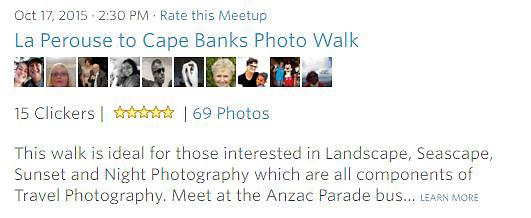 Meetup Photowalk - This walk is ideal for those interested in Landscape, Seascape, Sunset and Night Photography which are all components of Travel Photography. <br />