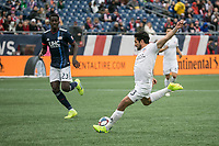 Foxborough, Massachusetts - March 24, 2019:   FC Cincinnati (white) beat the New England Revolution (blue/white) 2-0 in a Major League Soccer (MLS) match at Gillette Stadium.