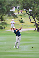 John Huh (USA) hits his approach shot on 18 during round 1 of the Valero Texas Open, AT&amp;T Oaks Course, TPC San Antonio, San Antonio, Texas, USA. 4/20/2017.<br /> Picture: Golffile | Ken Murray<br /> <br /> <br /> All photo usage must carry mandatory copyright credit (&copy; Golffile | Ken Murray)