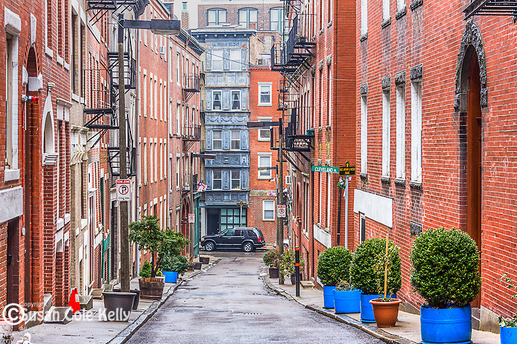 Margaret Street in the North End neighborhood, Boston, Massachusetts, USA