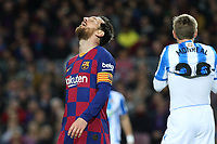 7th March 2020; Camp Nou, Barcelona, Catalonia, Spain; La Liga Football, Barcelona versus Real Sociedad;  Leo Messi rues the missed chance one on one with Real keeper Remiro