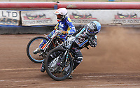 Heat 3: Alfie Bowtell (blue) and Connor Coles (white)<br /> <br /> Photographer Rob Newell/CameraSport<br /> <br /> National League Speedway - Lakeside Hammers v Eastbourne Eagles - Lee Richardson Memorial Trophy, First Leg - Friday 14th April 2017 - The Arena Essex Raceway - Thurrock, Essex<br /> &copy; CameraSport - 43 Linden Ave. Countesthorpe. Leicester. England. LE8 5PG - Tel: +44 (0) 116 277 4147 - admin@camerasport.com - www.camerasport.com