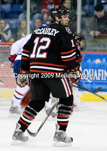 Dennis McCauley (Northeastern - 12) - The Northeastern University Huskies defeated the University of Massachusetts-Lowell Riverhawks 3-1 on Saturday, February 28, 2009, at the Paul E. Tsongas Arena in Lowell, Massachusetts.