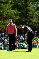 Masters Golf Tournament 2005, Augusta National Georgia, USA. Jack Nicklaus and Tom Watson.<br /> <br /> Champion 2005 - Tiger Woods <br /> <br /> Note: There is no property release or model release available for this image.